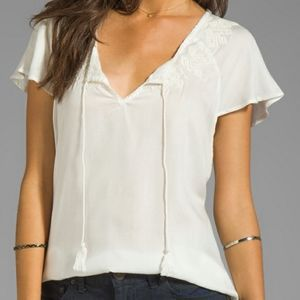 Soft Joie Sorel White Embroidered Blouse Viscose